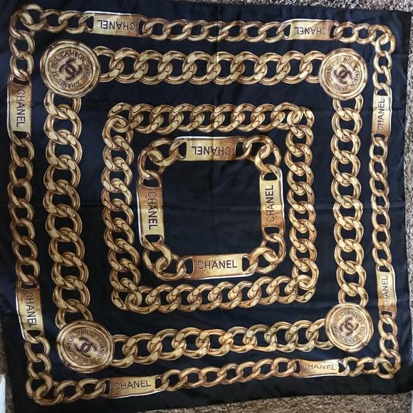 7b02db651345 CHANEL Accessories - Vintage Chanel silk scarf chains